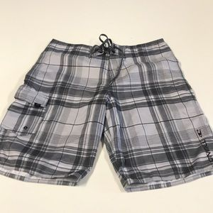 ONEILL Gray / Black Plaid Shorts Mens 33